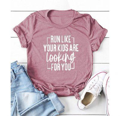 Womens Pink Text Print Tshirt
