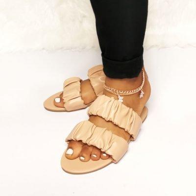 Sojoee womens brown flat slippers
