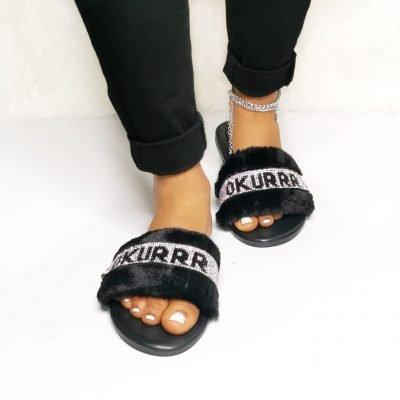 Black fur women slippers, Women's Slippers