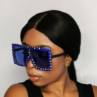 Diamond studded oversized womens sunglasses