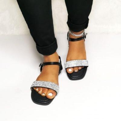 Women's black flat sandals