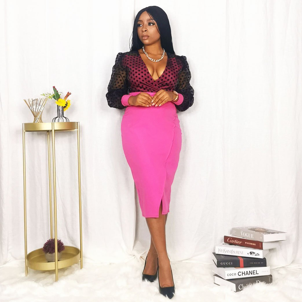 Pink and black party dress for women