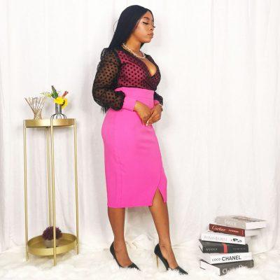 Mixed Polka Dot womens midi dress
