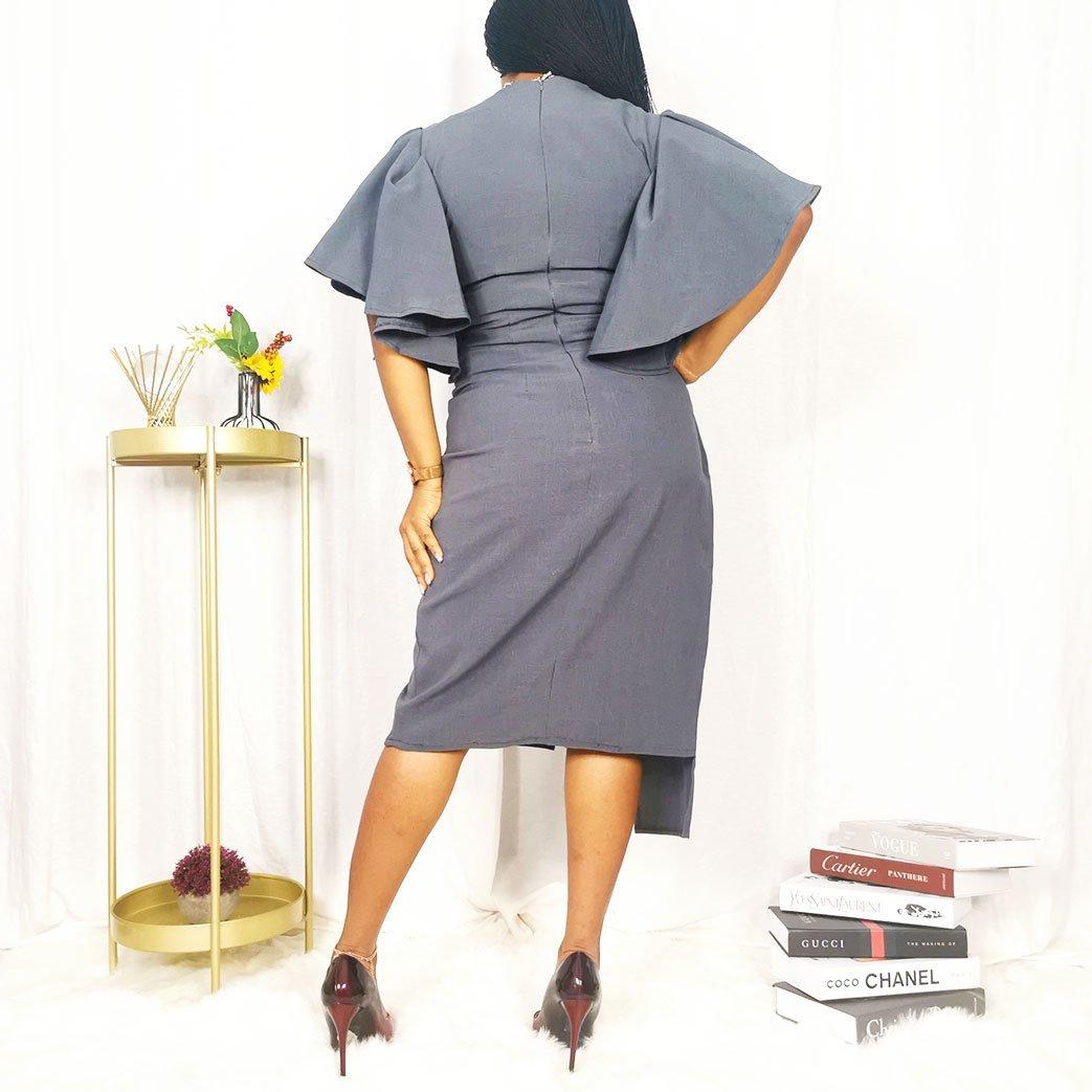 Grey flare sleeve work dress for women