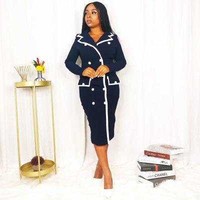 Navy Blue corporate suit dress for women