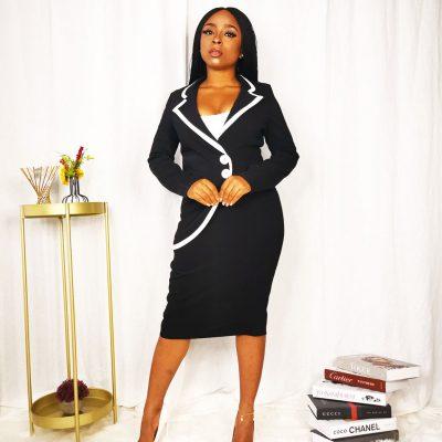 Black suit dress for women