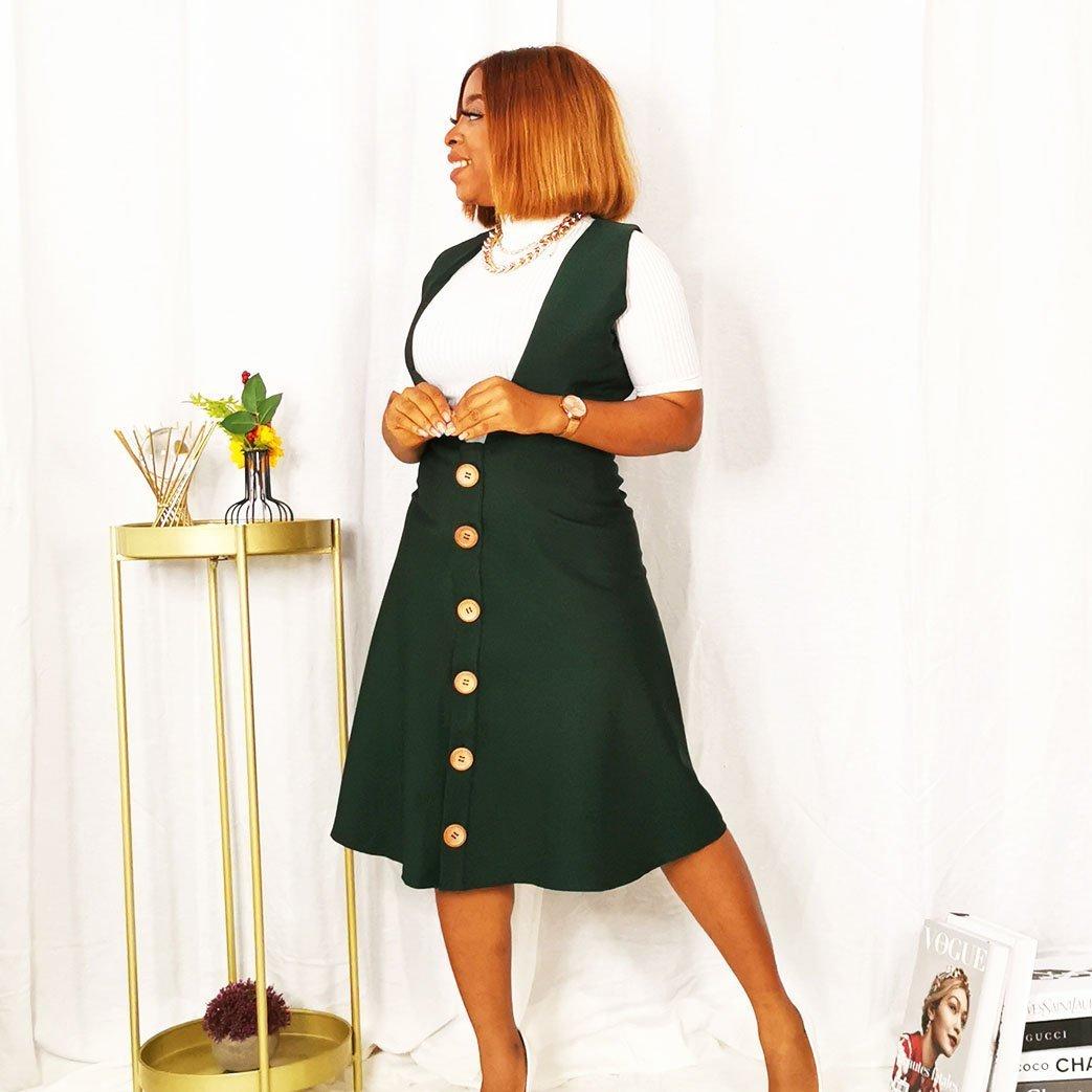 Green Womens Pinafore dress