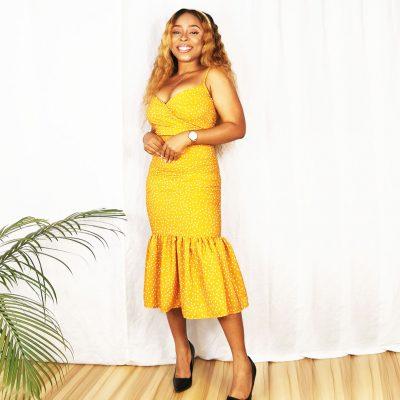 Mustard Yellow polka dot womens 2 piece outfit