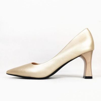 Champagne Pointed mouth block heel womens occasion shoes