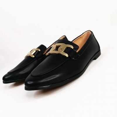 Black leather loafers womens office shoes