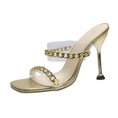womens gold party mule
