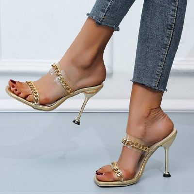 Womens party gold mule