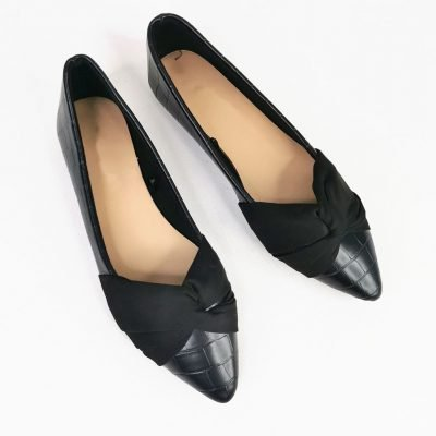 Black flat office womens shoes